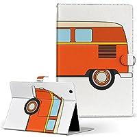igcase KYT33 Qua tab QZ10 キュアタブ quatabqz10 手帳型 タブレットケース カバー レザー フリップ ダイアリー 二つ折り 革 直接貼り付けタイプ 010086 乗り物 車 赤