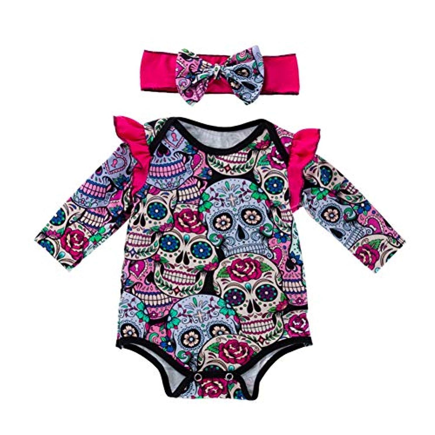 ジャンピングジャック知っているに立ち寄る論争的Rad子供 新しいスタイルのファッションの女の赤ちゃんのハロウィンスカルプリントロングスリーブロンパースカチューシャ2個セット
