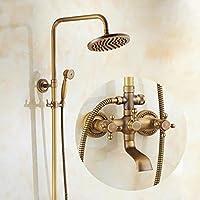 YYF-SHOWER シャワーセット、 真鍮継手、 クリエイティブレトロ 壁掛け式 8インチ トップスプレー ハンドシャワー シングルハンドル 温水と冷水 コンバータ、 1.5mホース (色 : ブラス ぶらす)