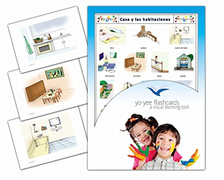 Tarjetas de vocabulario - Rooms Flashcards in Spanish - Casa y las habitaciones -スペイン語フラッシュカード、絵カード、子供, 部屋, 家, 家屋