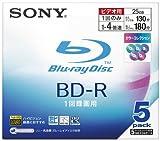 ソニー ブルーレイディスク 録画用BD-R(追記型)片面1層・1~4倍速 130分/25GB・5枚パック 5色Mix 5BNR1VBXS4