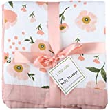 "Muslin Toddler Blanket -Floral Print Bamboo Everything Blanket - Oversized 47"" x 47"" - 2 Layers Muslin Stroller Blanket for Baby Girl (Floral)"