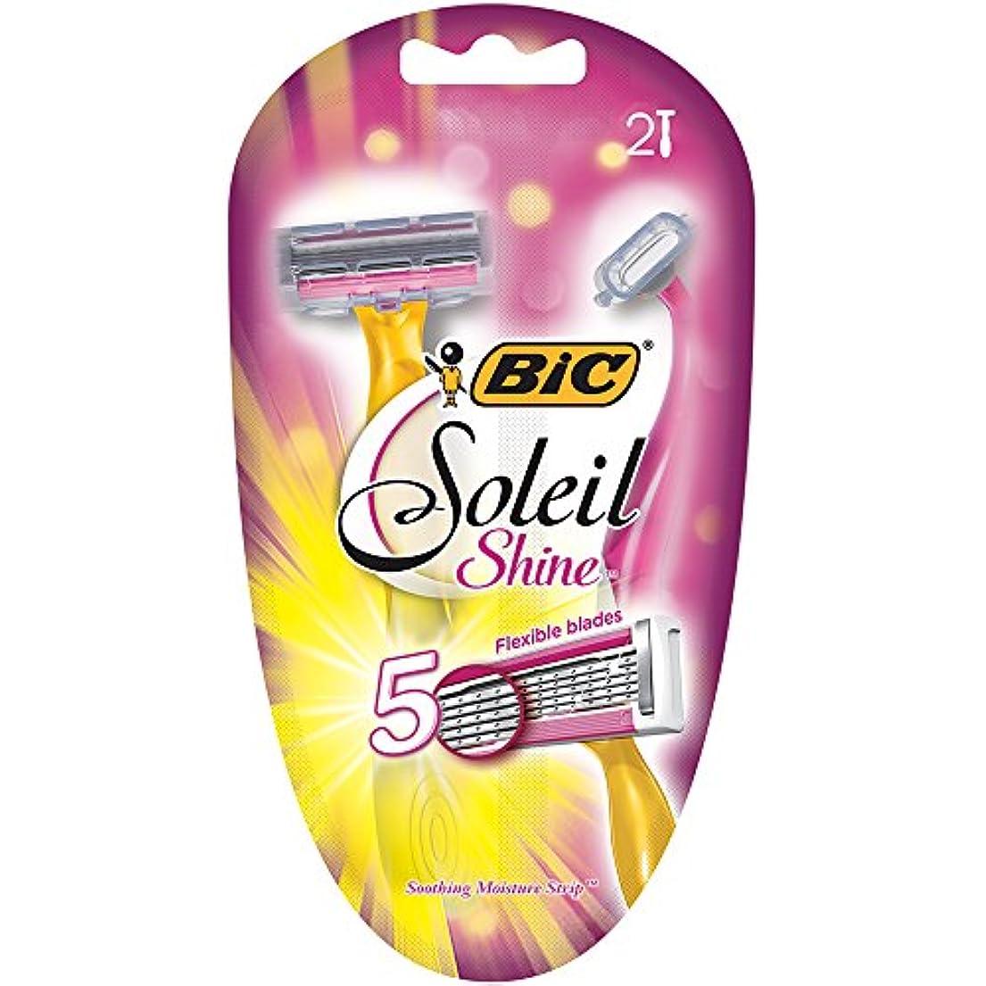力強い死傷者傾斜BIC ソレイユ磨き、使い捨てカミソリ、女性、2-カウント
