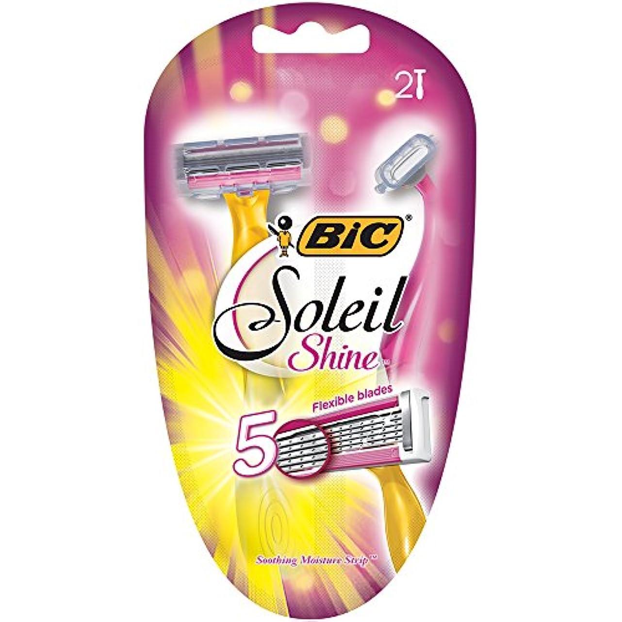 いらいらさせるゴシップアナニバーBIC ソレイユ磨き、使い捨てカミソリ、女性、2-カウント