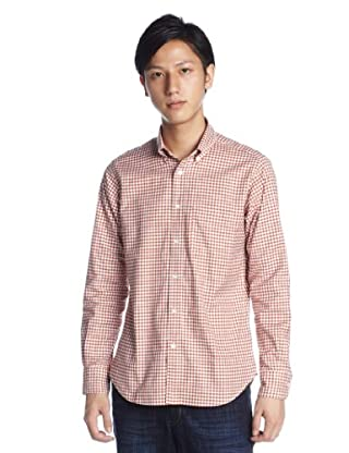 Oxford Gingham Buttondown Shirt 1211-218-4783: Orange