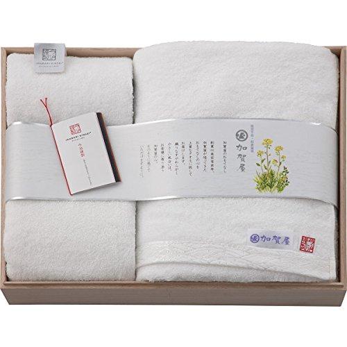 和倉温泉 加賀屋おもてな糸 バス・フェイス・ハンドタオルセット(木箱入)【B倉庫】