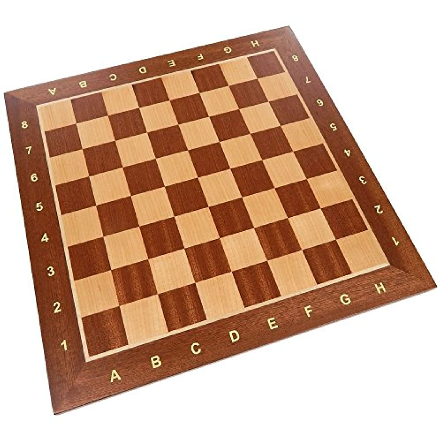 Requa Chess Board with Inlaid Wood and Ranks and Files (Numbers and Letters on Side) - Board Only - 15 Inch [並行輸入品]