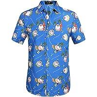 SSLR Men's Funny Santa Claus Button Down Hawaiian Christmas Shirts