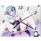 Re:ゼロから始める異世界生活 レム ガラス製 掛 置 時計 横型 20×25cm