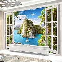 Hxcok カスタム写真壁画壁紙HD熱帯海景窓滝風景部屋リビングルームテレビ背景壁紙カバー-280X200CM