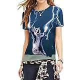 かわいい猫シャツきらめくフラッシュディープブルークルーネックスリムフィットカジュアルTシャツM