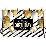 MEHOFOTO 7x5フィート 白黒ストライプ 誕生日バナー 写真撮影用背景幕 子供 大人 ハッピーバースデー パーティー背景 ゴールド ホワイト シルバー バルーン ローズゴールド リボン 写真撮影用小道具