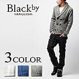 Black by VANQUISH(ブラックバイヴァンキッシュ) ダブルショールカラーニットカーディガン M WHITE