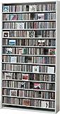 1284枚収納 CD屋さんのCD/DVDラック 幅109cm インデックスプレート20枚付き (ホワイト W)