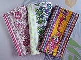バンダナ おしゃれな アジアン 花柄 3枚セット インド綿 スカーフ アジアン エスニック イエロー ピンク ギフト a_bn_066