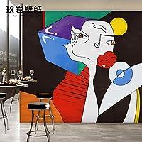 HANHUAN アールデコ様式のフレスコ画の壁紙の壁画防水カスタマイズ可能なサイズのオリエンタルモダンな簡単ノベルティデザインテレビ背景家の Decornon-Toxic 環境保護バスルーム/レストラン/バー/ホール/リビングルーム/玄関/キッチン/オフィス/ベッドルーム、 315 x 232 cm