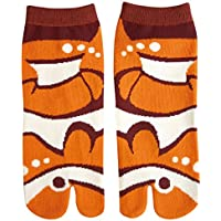 Cute Animal Women's Ankle Socks Japanese Tabi Split Toe style - Clown Fish
