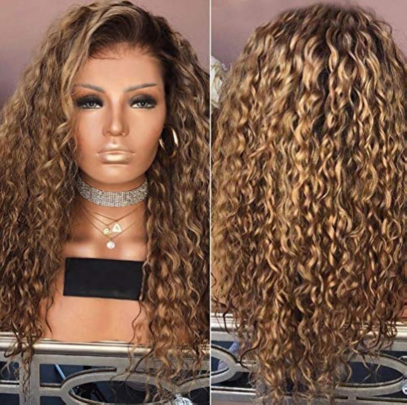 機密うめきおそらく女性カーリーブラジルウィッグ実体波ナチュラルカラーブラジル実体波かつらブラウン65 cm