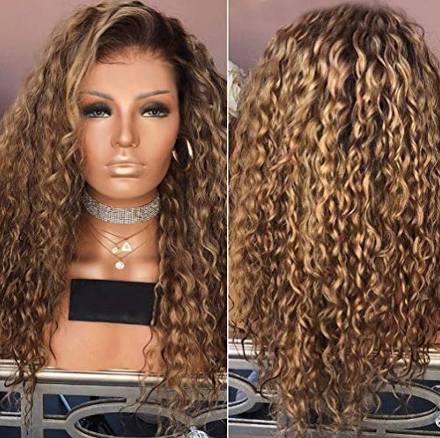 教育交渉する学習者女性カーリーブラジルウィッグ実体波ナチュラルカラーブラジル実体波かつらブラウン65 cm