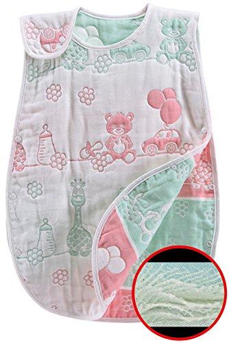 11MONO 6重より多い 8重ガーゼ ベビー スリーパー 柔らか 冬用にも パジャマ 寝袋 オーガニックコットン プレゼントに 60cm(新生児~3歳頃) (きりん)