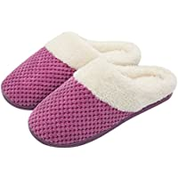 ULTRAIDEAS Women's Comfort Coral Fleece Memory Foam Slippers Fuzzy Plush Lining Slip-on Clog House Shoes for Indoor & Outdoor Use