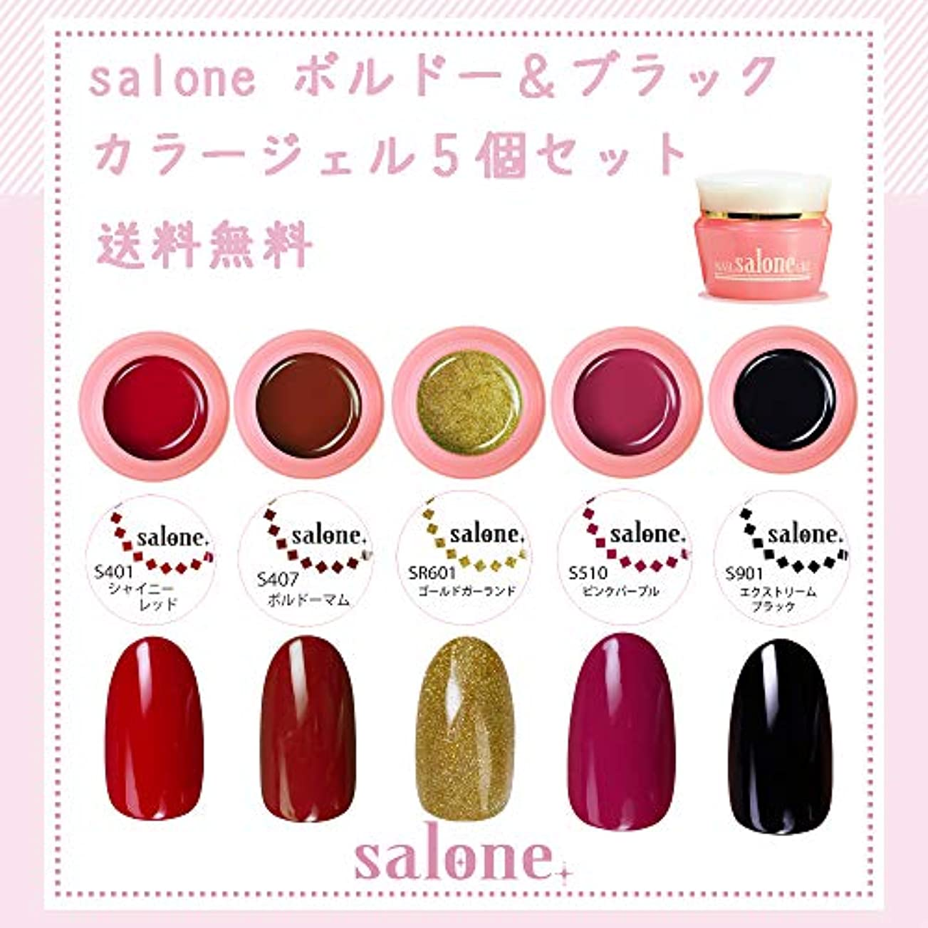 始めるなんとなく比喩【送料無料 日本製】Salone ボルドー&ブラックネイル カラージェル5個セット ネイルのマストカラーボルドーとブラックカラー