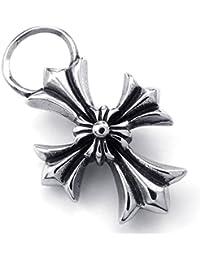 [テメゴ ジュエリー]TEMEGO Jewelry メンズステンレススチールヴィンテージペンダントゴシッククロスネックレス、ブラックシルバー[インポート]