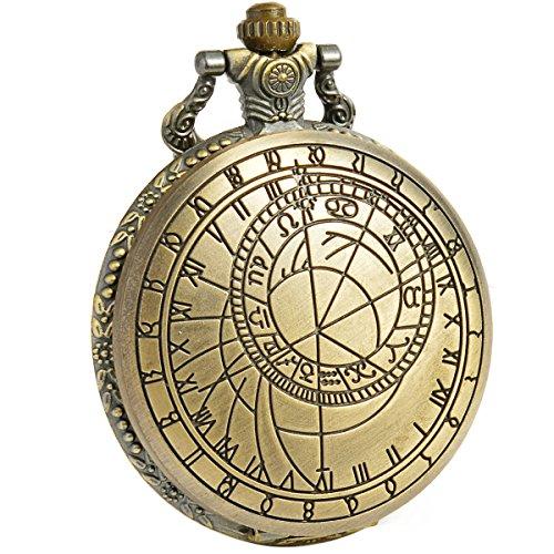 [해외]SIBOSUN 골동품 의사 누가 남성 회중 시계 청동 커버 화이트 시계 문자판 체인 쿼츠/SIBOSUN Antique Doctor Who Male Pocket Watch Bronze Cover White Clock Dial Chain Quartz