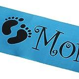 【ノーブランド品】青い サッシ ベビーシャワー 新生児パーティー 好意 フットプリント インテリア 出産祝い「Mom to Be」