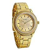 JewelryWe キラキラ 高級感 メンズ 金色腕時計 ウオッチ ビジネス&カジュアル アナログ表示 ステンレスバンド 通勤&通学 時計 ゴールド