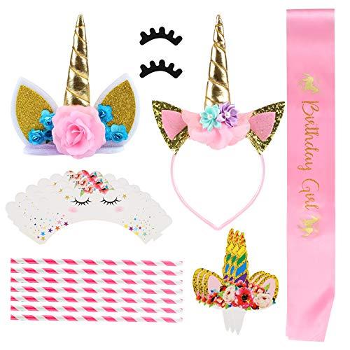 GWHOLE ユニコーン誕生日パーティー装飾セット カップケ...