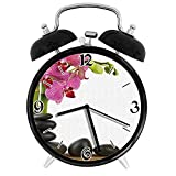 210STAR-竹とブラックホットストーンマッサージと美しいピンクの蘭レトロで個性あふれる、家やオフィス用の大きなウェイクアップの目覚まし時計