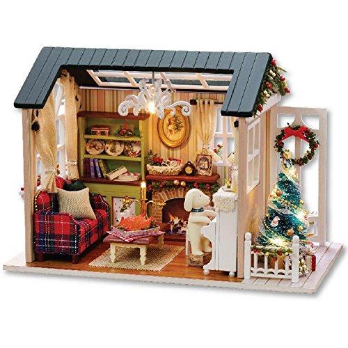 Airyus ドールハウス 子犬 の 部屋 ミニチュア キット 手作り セット かわいい 犬 のいる 家 DIY (クリスマス)