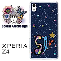 ScoLar スカラー デザインスマホケース ソニー SONY XPERIA Z4 エクスペリア スマフォ スマホ スマートフォン スマートホン ケース カバー ジャケット ロゴ 小さいキャラ ネイビー かわいいデザイン ファッションブランド SO-03G SOV31 402SO scr50224 UV印刷