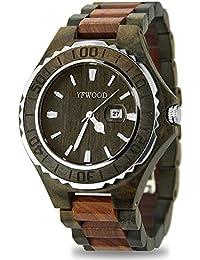 腕時計 メンズ 木製 YFWOOD ウッドウォッチ 優しい木の温もりを生かした天然木製腕時計 カレンダー付き 防水機能 通勤