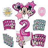 Mayflower Products ミニーマウスと友達 2歳の誕生日パーティー用品 8つのゲストデコレーションキットとバルーンブーケ