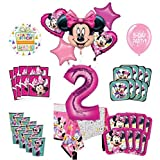 Mayflower Products ミニーマウス 2歳の誕生日パーティー用品 8個のゲストバルーンデコレーションキット