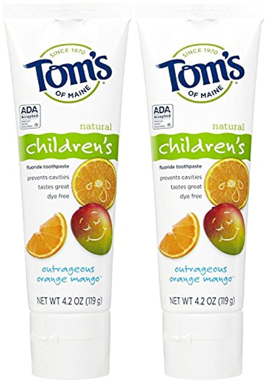 小包クロニクル少しTom's of Maine Anticavity Fluoride Children's Toothpaste, Outrageous Orange-Mango - 4.2 oz - 2 pk by Tom's of...