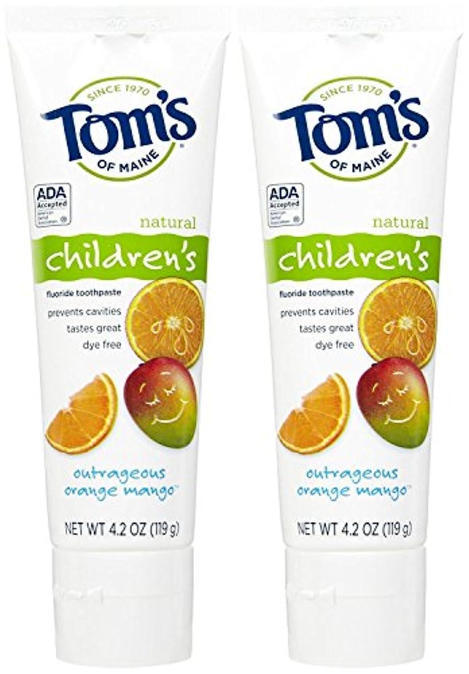 退屈トライアスリート痛いTom's of Maine Anticavity Fluoride Children's Toothpaste, Outrageous Orange-Mango - 4.2 oz - 2 pk by Tom's of...