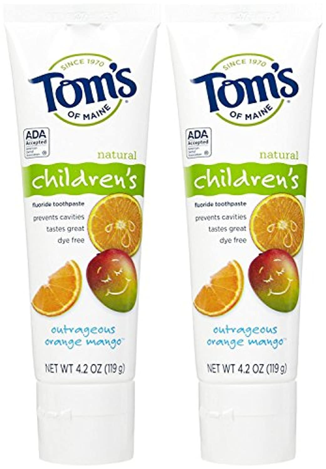 連帯最愛の期間Tom's of Maine Anticavity Fluoride Children's Toothpaste, Outrageous Orange-Mango - 4.2 oz - 2 pk by Tom's of...