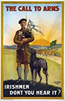 Wwi ポスター 1915 NThe Call To Arms Irishmen DonT You Hear It Irish Recruitment リトグラフ 1915 ポスタープリント (18 x 24)