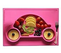 Kuke 二つ(ピンク+グーリン)防水シリコン 吸盤付き 強い吸着力 かわいいカー形プレート 遊び食べ 離乳食 ベビー食器 ランチ皿 お食事マット 赤ちゃんミニマット 子供食器 ベビー用品