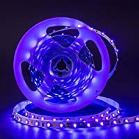 Omika UV LED Blacklight Strip Light Fixture 5M/16FT 3528 SMD - Purple Ultraviolet UV Light String with Strip Connector Kit One-Side Fixing Mode & Dimmer Controller ? Perfect for Indoor Wall Decor [並行輸入品]