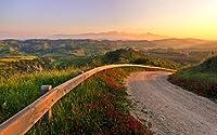 イタリア、夕日、素晴らしい風景、道、丘、自然 キャンバスの 写真 ポスター 印刷 旅行 風景 景色 (75cmx50cm)