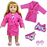 ZITA ELEMENT Doll Clothes Bathrobes Set for 18 inch American Girl Doll Top Underwear Slipper Outfits Accessories