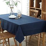 (ハッピー・ライフ)Happylife テーブルクロス 北欧 無地 テーブルクロス 撥水加工 長方形 綿麻製 ブルーブラック 130*250cm