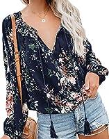 chenshiba-JP Women's Floral V Neck Long Sleeve Shirts Casual Loose Drawstring Blouses Tops 1 L