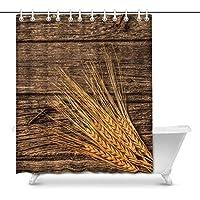 素朴な納屋の木と小麦の家の装飾防水ポリエステルバスルームシャワーカーテンバス、フック付き、66(ワイド)X 72(高さ)インチ 200X180 CM