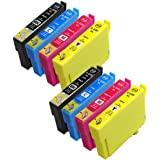 8-Pack Generic Ink Cartridges High Yield Replacement For 220 220XL [2BK,2C,2M,2Y] Compatible with Epson XP-220, XP-320, XP-324, XP-420, WF-2630, WF-2650, WF-2660, WF-2750, WF-2760