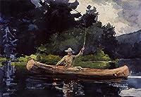 手書き-キャンバスの油絵 - 美術大学の先生直筆 - Playing Him aka The North Woods 現実主義 marine painter Winslow Homer 絵画 洋画 複製画 ウォールアートデコレーション -サイズ03